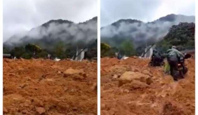 Derrumbe en autopista Medellín – Bogotá en diciembre de 2020