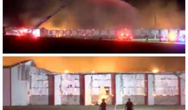 Incendio en granja de Florida