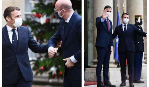 Emmanuel Macron con Charles Michel y con Pedro Sánchez