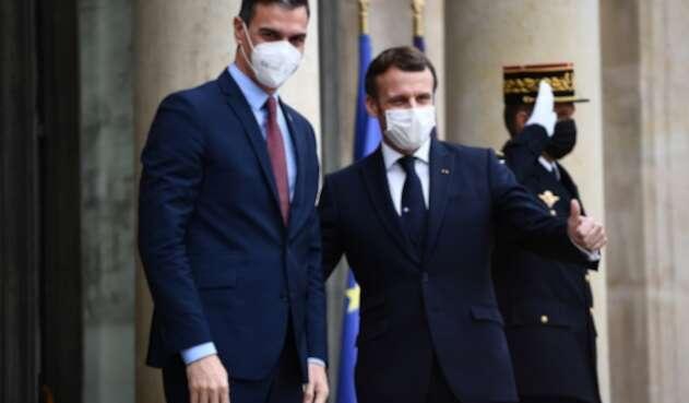 Presidente francés, Emmanuel Macron, y Pedro Sánchez, del gobierno español
