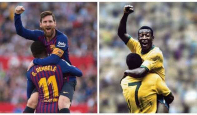 Messi y Pelé celebran gol