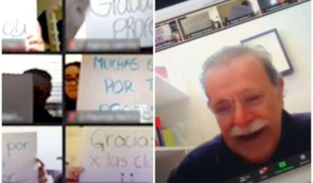 Profesor recibe conmovedor homenaje de sus alumnos en clase virtual