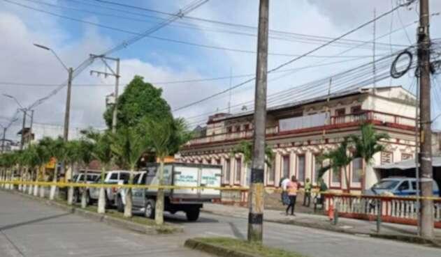 Lugar del asesinato de un guardián del Inpec en Quibdó, Chocó.