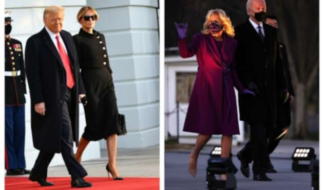 Donald Trump y Joe Biden con sus esposas