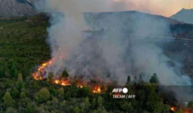 Incendio en la Patagonia argentina