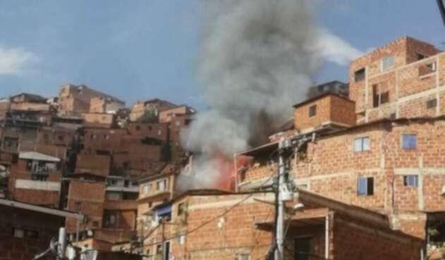 Incendio en la Comuna 13 de Medellín.