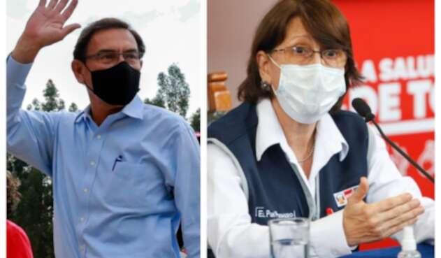 Martín Vizcarra, expresidente peruano y Pilar Mazzetti, ministra de Salud