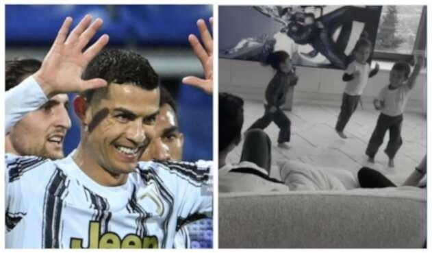 Cristiano Ronaldo; hijos de CR7 bailando