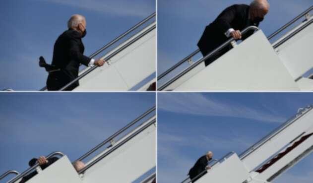 Joe Biden se tropieza tres veces