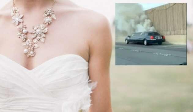 Novia iba en limusina que acabó incendiada