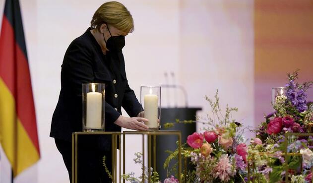 Angela Merkel en homenaje a muertos por covid-19