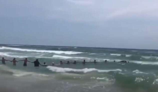 Cadena humana en playa de EE.UU.