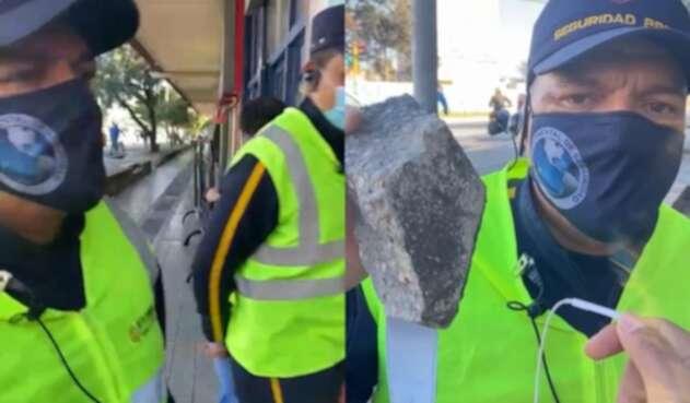 Guarda de seguridad defendió la protesta en paz tras esquivar una pedrada