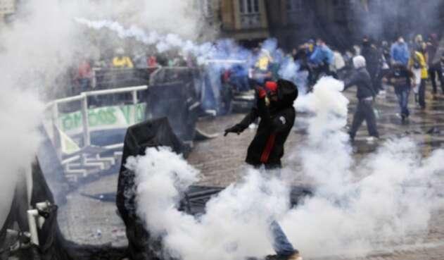 Disturbios en Bogotá durante Paro Nacional.
