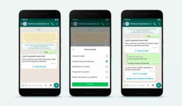 Interfaz de WhatsApp Business