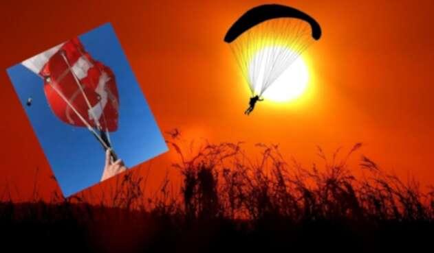 paracaídas en colombia precio: hombre se enreda en paracaídas y cae en espiral