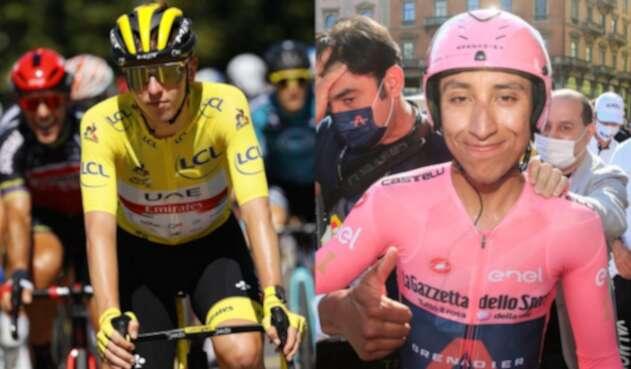 Tadej Pogacar y Egan Bernal, ciclistas en el Tour de Francia
