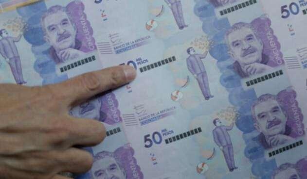 Billetes de 50 mil pesos colombianos