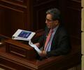 Ministro de Hacienda, Alberto Carrasquilla, durante debate en Comsiones Económicas del Congreso.