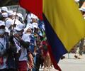Marcha de exguerrilleros de las Farc hacia la Plaza de Bolívar